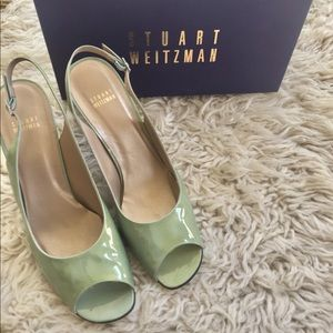 Stuart Weitzman patent leather sling back shoes